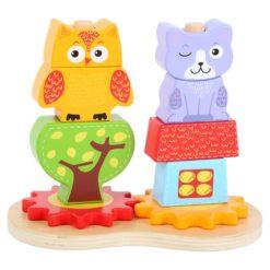 Steckspiel Katze und Eule aus Holz