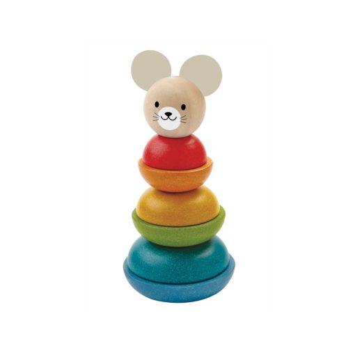 Holzspielzeug Stapelspiel Maus bunt