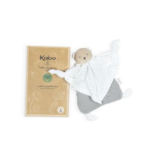 KALOO Petits Pas - Schmusetuch Bio-Baumwolle Bär grau 1