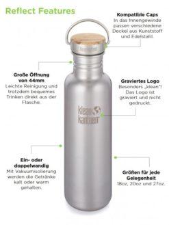 Klean Kanteen Edelstahl Trinkflasche Reflect 532ml Bambus-Schraubverschluss 6