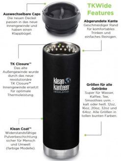 Klean Kanteen Edelstahl Isolierflasche TKWide 473ml Cafe Cap 5