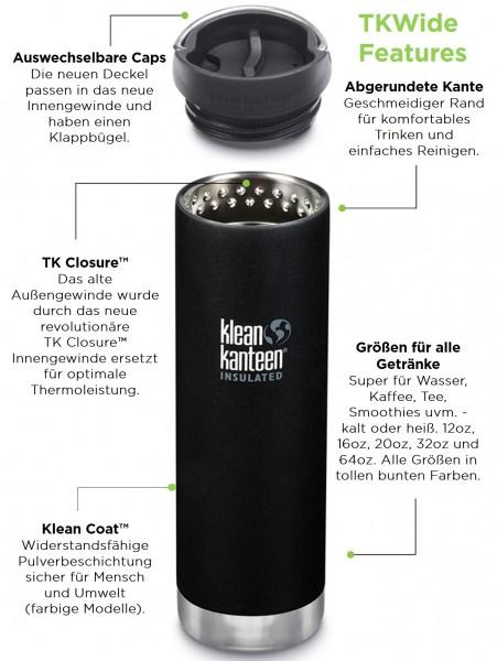 Klean Kanteen Edelstahl Isolierflasche TKWide 473ml Cafe Cap 2